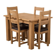 Hampton Oak Extending Dining Table With 4 Lincoln Chairs, 120-160 cm