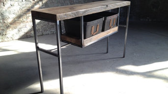 Reclaimed Wood And Steel Entry Table With Vintage Bins