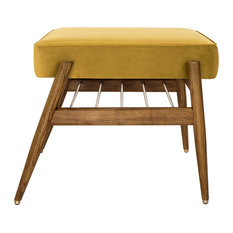 Fox Velvet Shine Footstool, Mustard Yellow