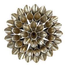 "Large Round Metallic Gold Metal Floral Orb Wall Decor, 32""x32"""