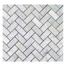 """Herringbone Honed Mosaic, Bianco Carrara, 12""""x12"""""""
