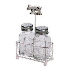 Chippy Pig Weather Vane Holder with Glass Salt and Pepper Shaker Set
