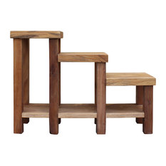 Chinese Rustic Thick Light Wood Step Shape Side Table Plant Stand
