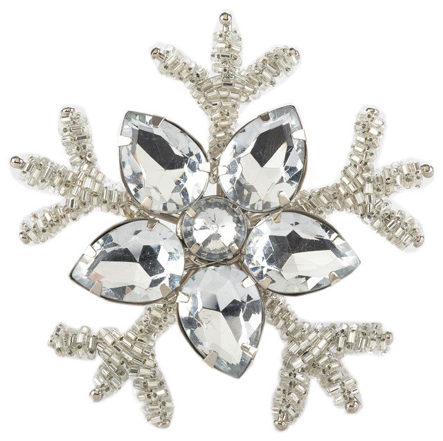 Jeweled Silver Beads Snowflake Design Napkin Rings - Set of 4
