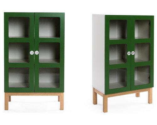 Reader 6 Skåp 105 cm, Grön/Ek - Opbevaringsskabe