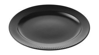 Groovy Stoneware Oval Serving Dish, Black