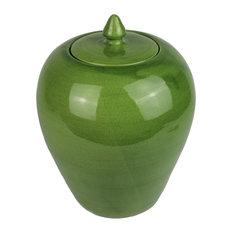 Covered Ceramic Vase, Green