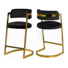 Stephanie Velvet Stools Set Of 2 Black