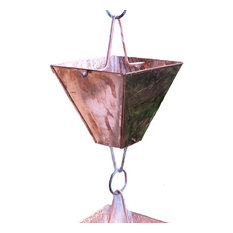 Extra Large Square Cups Copper Rain Chain With Installation Kit, 10'