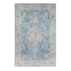 Addison Avignon Medallion Velvet Area Rug, Blue, 5'x7'6""
