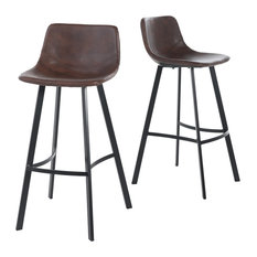GDFStudio - Rex Faux Snake Leather Brown Bar Stools, Set of 2 - Bar Stools and Counter Stools