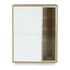 Alinéa - Checker Meuble vitrine 3 portes design scandinave - Buffet et Bahut