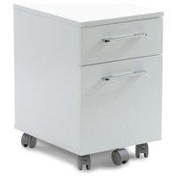 2-Drawer Mobile File Cabinet on Castors, White