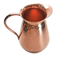 Luxe Hammered Copper Water Pitcher, Hand Crafted Metal Tabletop Vase Serving