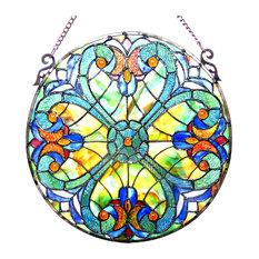 "Liaison, Tiffany-Glass Victorian Window Panel 20"""