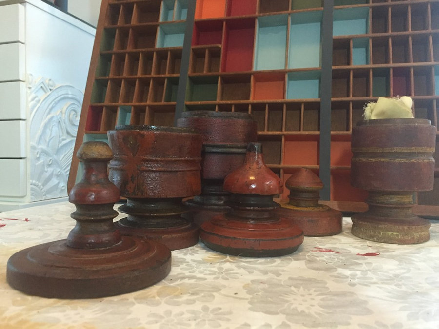 Set of 3-Hand Carved Jars with Finial Tops