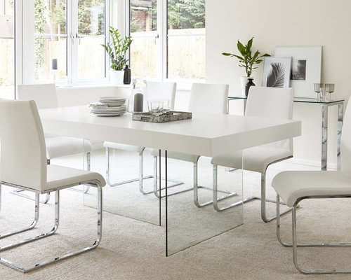 Aria White Oak And Glass Dining Table   Dining Tables