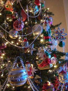 below are two trees one with just beaded garlandand the other with both ribbon and beadsthe ribbon went on before the beads hope this is helpful - Christmas Beaded Garland Decorations