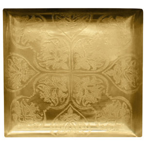 Baroque II Square Serving Tray, Matte Brass