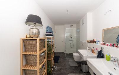 Wie sich dieses schlichte Bad durch Schiefer und Holz verwandelt