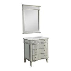 30-inch All Mirrored Ashley Bathroom Vanity And Mirror FWM025/3040-BS