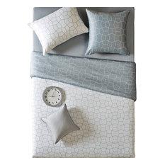 Reversible Modern White And Gray Duvet Cover Set, Queen