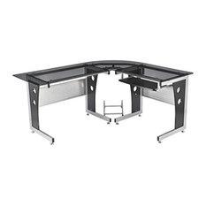 Aosom - HomCom Modern L-Shaped Glasstop Office Workstation Computer Desk, Black - Desks and Hutches