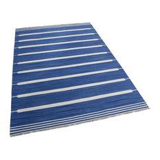 Blue Stripes Rug, Blue and White, 200x300 cm
