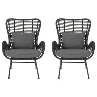 Crystal Outdoor Wicker Club Chairs With Cushions, Set of 2, Gray/Black/Dark Gray