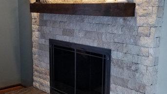 Ivory Travertine Veneer Stone Tile Fireplace