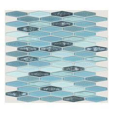 "12""x12"" Streched Hexagon Glass Mosaic Tile, Santorini"