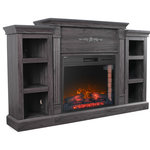 Della - Freestanding Electric Fireplace Bookshelves with Remote Control, Gray - Illuminate your decor with this infrared electric fireplace. Classical woodworking flourishes across the mantel and bookshelves; ample storage awaits reading materials, media accessories, or pottery. Traditional styling combines with Mission inspired accents to ignite your senses with this infrared electric fireplace in a living room, dining room, or parlor. Energy efficient, fan-forced quartz infrared heat distributes evenly to quickly warm up to 400 square feet.