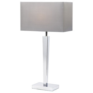 Moreto Modern Chrome Table Lamp With Grey Faux Silk Shade