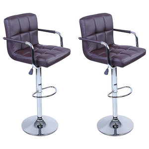 2-Bar Stool Set, Faux Leather With Backrest, Armrest and Chrome Footrest, Brown