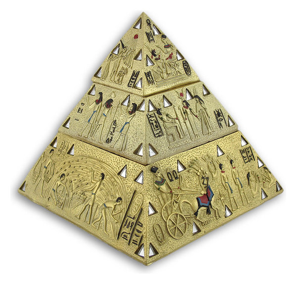 Ancient Egyptian Golden Pyramid Double Trinket Box Eclectic