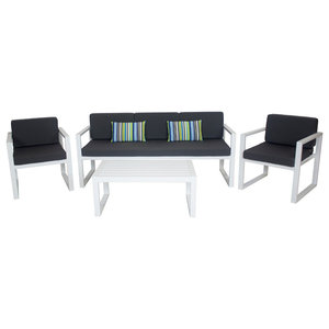 Outdoor 4-Piece Munich Furniture Set With 3-Seater Sofa, White