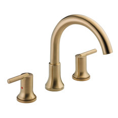 Delta Trinsic Modern Champagne Bronze Roman Tub Filler Faucet With Valve D909V