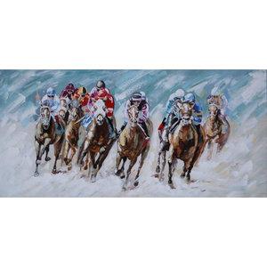 """RaceDay"" Acrylic Painting, 140x65 cm"