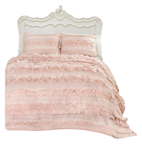 Eloise Blush Pink 3-Piece Quilt Set - Traditional - Quilts And Quilt ...