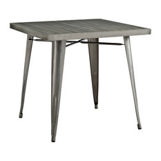 Alacrity Square Steel Dining Table, Gunmetal