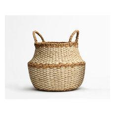Fez, Ivory Round Belly Storage Basket With Handle