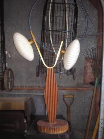 Mid Century Wood, Brass and Milk Glass Lamp