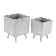 Modern Square Fiber Clay Planters With Wooden Legs, 2-Piece Set, Gray