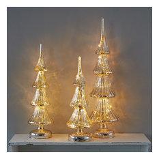 light up mercurised glass tree decorations