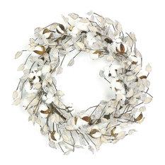 Silk Flower Depot - Cotton & Pod Wreath - Wreaths and Garlands