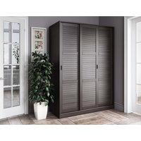 100% Solid Wood 3-Sliding Door Wardrobe/Armoire/Closet, Java