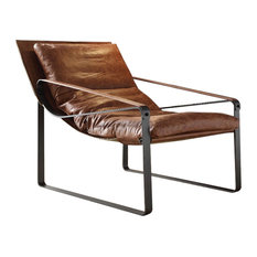 Metal and Leather Accent Lounge Chair, Cocoa Brown