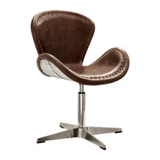 Retro Top Grain Leather Accent Chair With Swivel Brown & Silver