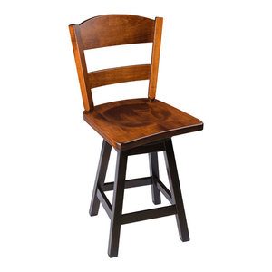 """Rustic Swivel Stool, Wood With Back, 2-Tone, Counter Height, 24"""""""