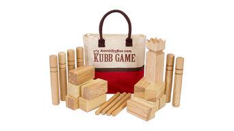 Amish-Made Deluxe Ash Hardwood Kubb Game, Regulation Size